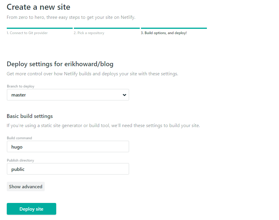 Netlify deploy settings