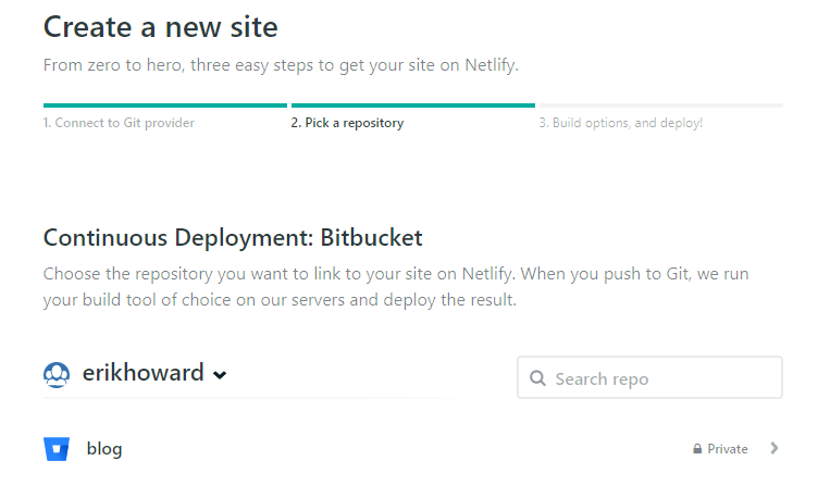 Netlify select git repository