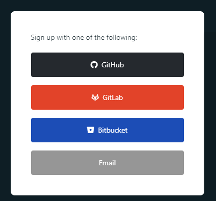 Netlify signup options